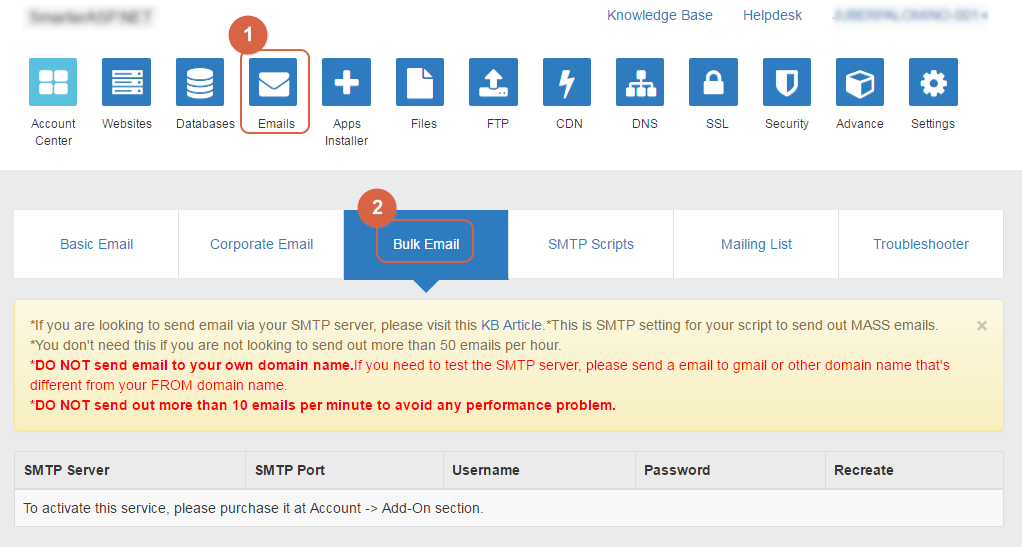 How to find my bulk email information after purchased sent-limit