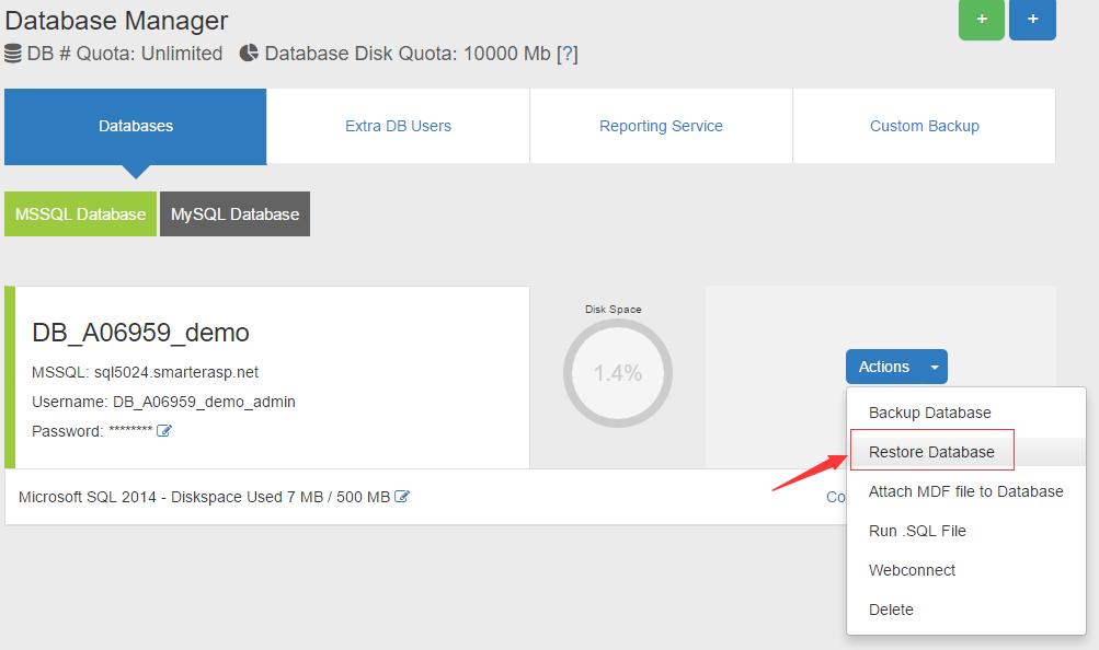 How can I download Mysql/Mssql database backup from server